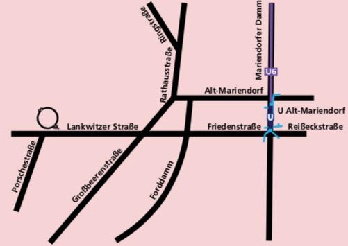 Die Skizze zeigt, wie die Räumlichkeiten am besten von U Alt-Mariendorf erreicht werden.